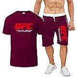Camiseta Estampada Conjunto De Camiseta De Fitness De Verano MMA, Traje De Ropa Deportiva Impresa UFC (Color : Red, Size : Medium)
