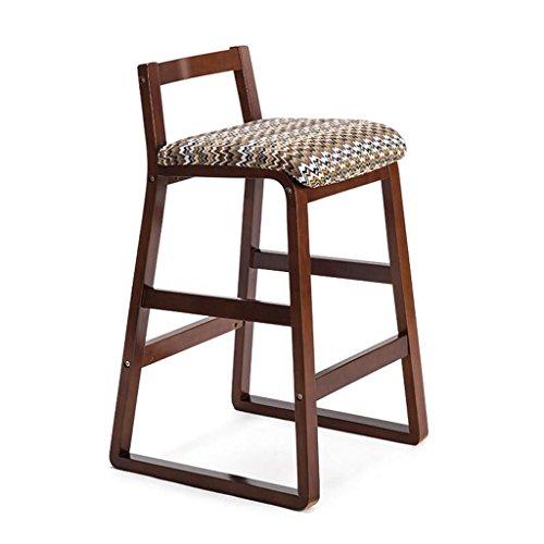 Rollsnownow Coussin d'ondulation de l'eau Cadre en bois brun chaise de bar maison moderne Tabouret haut de bois solide tabouret chaise haute Tabouret haut (Size : High 68cm)