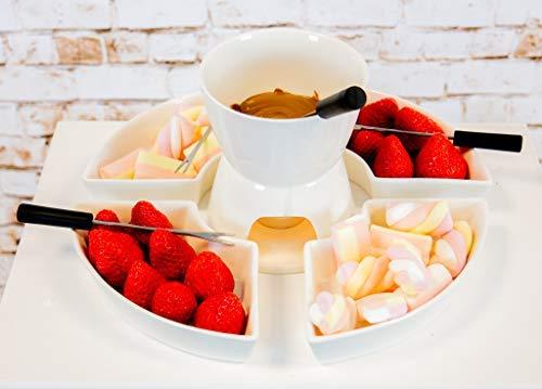 Homezone 10 Stück Keramik Fondue-Set Schokolade Fondue Käse Fondue Edelstahl Gabeln und 4 Keramik Dippen Geschirr