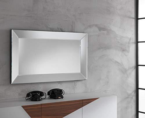 Stones Tenakoe Specchio grande da parete, Specchio/ MDF, Nero, 120x70x5 cm