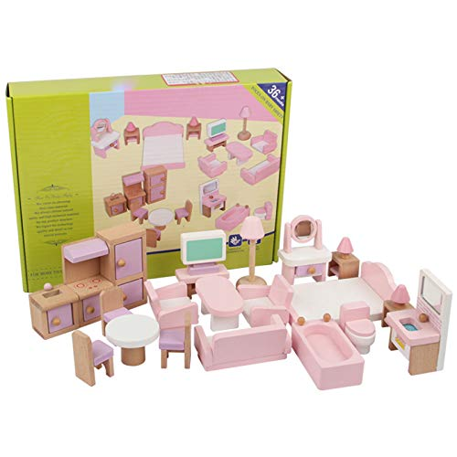 Dollhouse Furniture, Wooden Doll House Asseccories and Furniture with Bedroom Kitchen, DIY Mini Dollhouse Accessories for Furniture Toy, 22 Pcs