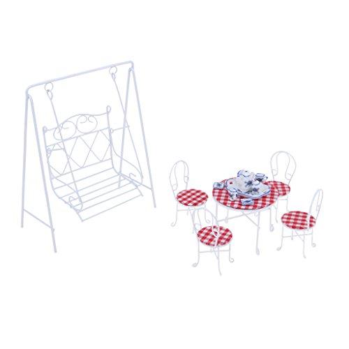 non-brand 1 Set Miniatura Jardín de Decoración Incluye Mesa de Té Silla y Columpio a Escala 1:12
