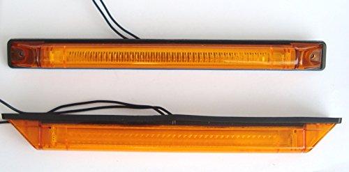 2 x 250 mm Orange Ambre Panneau latéral tracé Indicateur Marqueur Ampoules LED 12 V 24 V Noir Châssis Camion Remorque Caravane