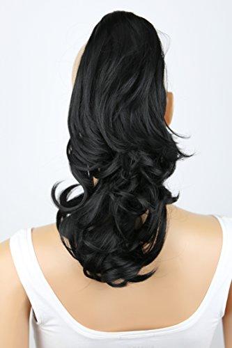 PRETTYSHOP 30cm Haarteil Zopf Pferdeschwanz Haarverlängerung Voluminös Gewellt Schwarz H88