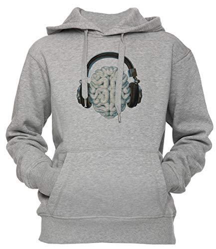 Mente Música Conexión Unisexo Hombre Mujer Sudadera con Capucha Pullover Gris Tamaño XXL Men's Women's Hoodie Grey XX-Large Size XXL