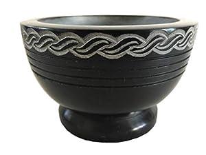 "NAI Soapstone Incense Burner Bowl/Smudge Pot/Wicca Ritual Offering Bowl Celtic Knot 4"" W x 2.5"" H SBR38"