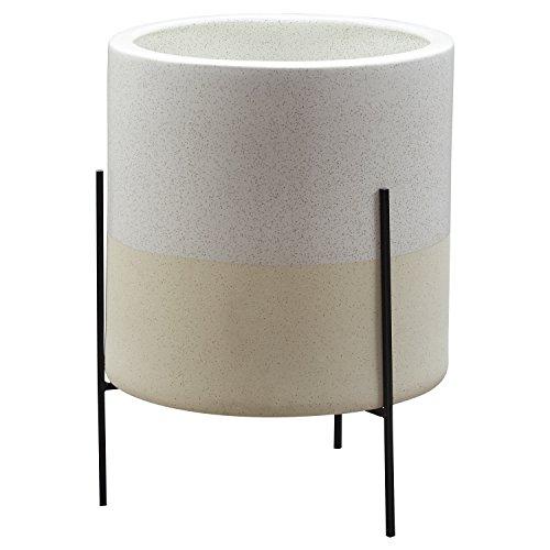 "Amazon Brand – Rivet Mid-Century Ceramic Planter with Stand, 18.9""H, White"