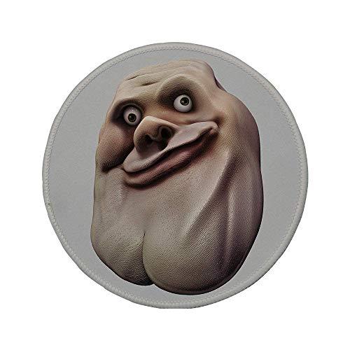 Rutschfreies Gummi-rundes Mauspad Humor-Dekor ungeschicktes Meme-Gesicht mit ungewöhnlicher Gesichtsgeste Hässliches Schein-Selbstgefälliges Forum-Kunstdesign Pearl Tan 7.9