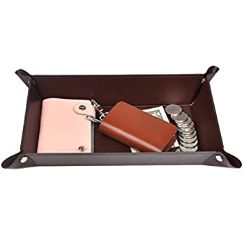 Valet Tray PU Leather Catchall 365park Jewelry Key Wallet Phone EDC Tray Christmas Gifts for Men Women