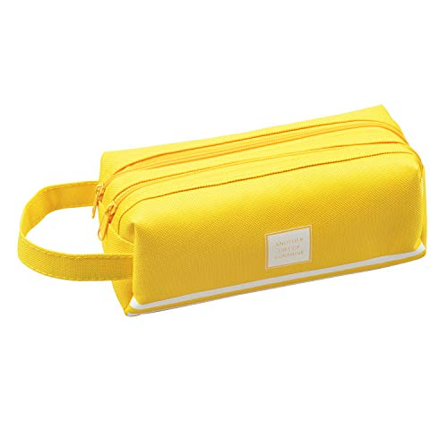 Beloca Pencil Case Large Capacity Student Stationery Pouch Pen Bag with Double Zipper Closure Office Pen Holder Organizer Stationery Bag Cosmetic Bag (Yellow)