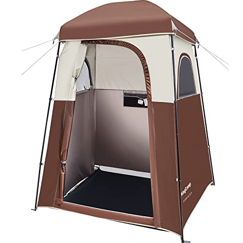 KingCamp Oversize Outdoor Shower Camping Tent, Portable Outdoor Privacy Dressing Changing Room Camp Toliet Shelter Tent with Carrying Bag, Easy Set Up, 1 Room/Coffee