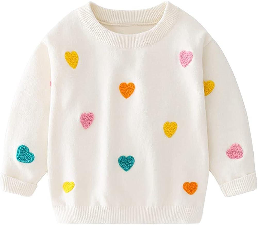 Mud Kingdom Cute Little Girl Sweater Heart Pattern Long Sleeve Pullover
