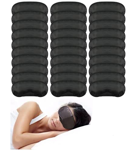 Eye Mask Sleep Masks Sleeping Mask Blindfold Eye Cover Team Building Games Party with Nose Pad and Adjustable Strap for Women Men Kids 4 Layers Black (30 pack)