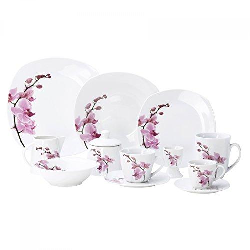 Van Well Kombiservice Kyoto 124-tlg. für 12 Personen, Tafel-Geschirr + Kaffee-Service + Zubehör, Porzellan-Geschirr, Blumen-Dekor Orchidee, rosa-pink
