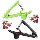 ZesNice 2 deshuesadores de cerezas o piedra para deshuesar cerezas o semillas, cocina Gizmo con diseño Scoop para uso con una sola mano (negro y verde).