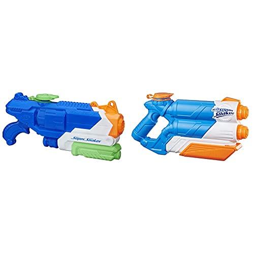 Hasbro B4438 Nerf Super Soaker Breach Blast, Wasserpistole, 1,4 Liter, 11,5 Metern & Hasbro E0024 Super Soaker Twin Tide, Wasserpistole mit doppelter Spritzpower und Pump-Funktion