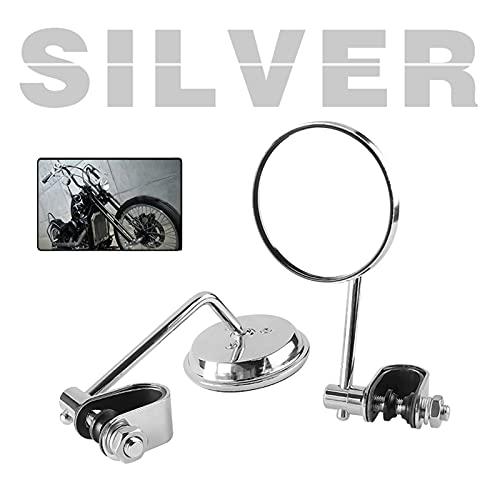 BAISHAN Moto retrovisor Espejo Espejo de Acero Inoxidable clásico Retro Vintage Retro Vista Trasera Espejo Universal 22mm-25mm Clip Convexo (Color : 2 Pieces Silver)