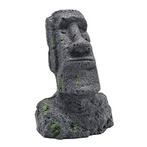 Amosfun Moai Kopf Osterinsel Statue Figur Steinfigur Dekofigur Skulptur für Garten Landschaft Aquarium Dekoration Aqua Ornaments - Größe S