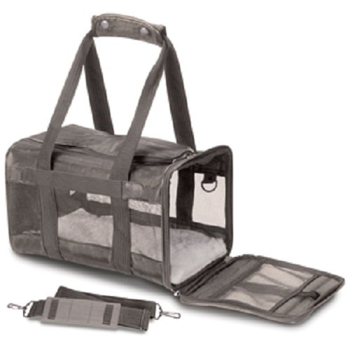 Sherpa Original Deluxe Pet Carriers With Bonus Travel Port-A-Bowl (Gray, Small)