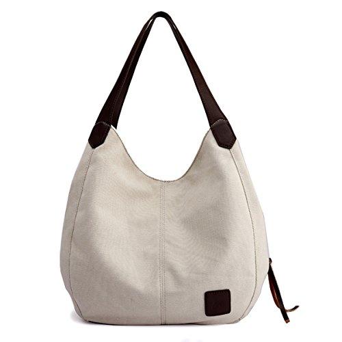 Hiigoo Fashion Women's Multi-pocket Cotton Canvas Handbags Shoulder Bags Totes Purses (Beige)