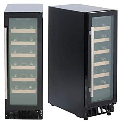 SIA WC30BL 300mm / 30cm Black Under Counter LED 19 Bottle Wine Cooler Chiller from SIA