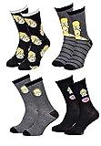 Disney Socks And Underwear Herren-Socken Simpsons aus Baumwolle, verschiedene Modelle mit Fotos je nach Verfügbarkeit, mehrfarbig Gr. One size, 4 Paar