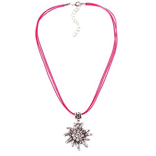 EROSPA® Oktoberfest Hals-Kette mit silbernen Edelweiss-Anhänger Bänder Damen Schmuck Dirndl Trachtenmode Wiesn pink