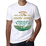 Hombre Camiseta Vintage T-Shirt Gráfico South Korea Mountain Explorer Blanco