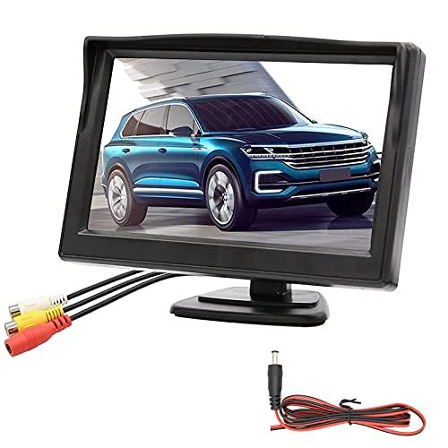 OBEST Pantalla LCD de 5 Pulgadas, Monitor de Respaldo de Cámara de Marcha Atrás Impermeable para Vista Trasera, para Camioneta SUV Automóvil, DC 12V