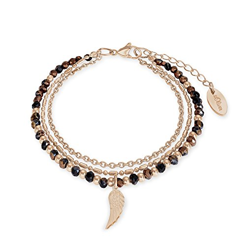 s.Oliver Damen-Armband 20cm mit Flügel-Anhänger Edelstahl IP Rose Beschichtung Glassteine braun