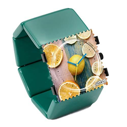 S.T.A.M.P.S. Stamps Uhr KOMPLETT - Zifferblatt Citrus mit Belta Ocean Green