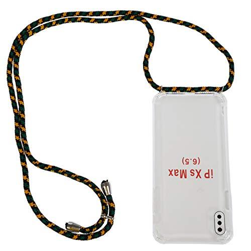 Handykette Handyhülle mit Band kompatible für iPhone Kordel Halsband (7 Plus / 8 Plus, schwarz grün gelb)