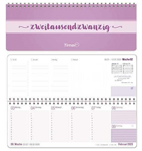 Wochen-Tischkalender 2020 im Quer-Format | 1 Woche 2 Seiten | Wochenkalender in lavendel/weiß, 29,7 x 10,5 cm | Schreibtisch-Kalender fürs Büro und Zuhause mit vielen Zusatzinfos und Sprüchen