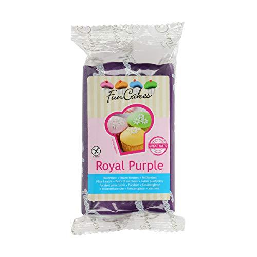 FunCakes Fondant Royal Purple: Einfach zu Verwenden, Glatt, Elastisch, Weich und Schmeidig, Perfekt zum Dekorieren von Torten, Halal, Koscher und Glutenfrei. 250 g