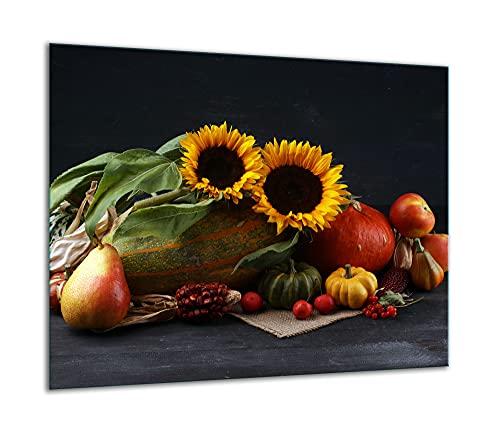 TMK | Placa de cristal para cubrir la cocina de 60 x 52 cm, una sola pieza, protección contra salpicaduras, placa de cristal, decoración para cortar verduras