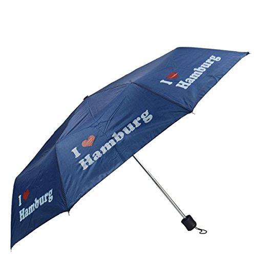 Sonia Originelli Taschenschirm I Love Hamburg Regenschirm Schutz Stadt Farbe Blau