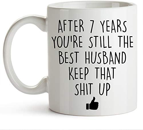 YouNique Designs 7 Year Anniversary Coffee Mug for Him 11 Ounces 7th Wedding Anniversary Cup product image