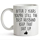 YouNique Designs 7 Year Anniversary Coffee Mug for Him, 11 Ounces, 7th Wedding Anniversary Cup For Husband, Seven Years, 7th Year