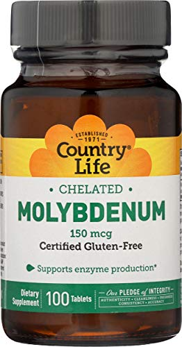Country Life, Gluten Free, Chelated Molybdenum, 150 Mcg, 100 Tablets, 200 g