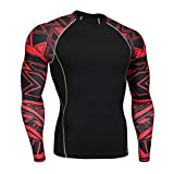 OEAK T-Shirt Homme Sport Compression Manches Longues Col Rond Séchage Rapid Vetement de Fitness pour Football Jogging Cyclisme Running
