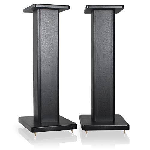9HORN 24 inch Wood Speaker Stands in Black, 1 Pair, for Home-Cinema HiFi Bookshelf Box and Satellite Speakers i.e. Klipsch, Bose, Polk, JBL, KEF, Sony, Yamaha, Pioneer, Harmon Kardon and Others