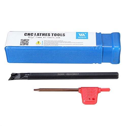LIANGANAN 8x125mm S08K-SDXCR07 CNC Torno de inflexión Portaherramientas Boring Pub en DCMT0702 Insertar herramientas de corte