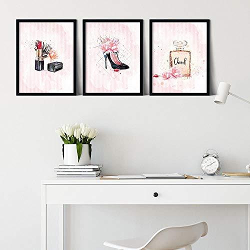 ZYQYQ Arte de la pared Botella de perfume rosa Moda Tacones altos Pinturas en lienzo Póster de maquillaje e imágenes impresas Chica Mujer Decoración de la habitación 30x40cmx3 Sin marco