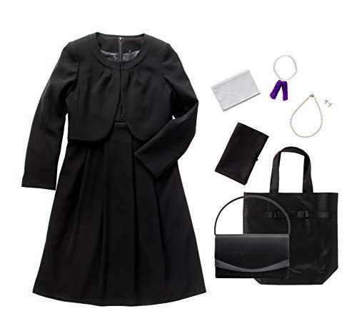 m426-11-7set ブラックフォーマル レディース 喪服 礼服 7点セット バッグ ネックレス イヤリング ふくさ ハンカチ 数珠 折畳トート