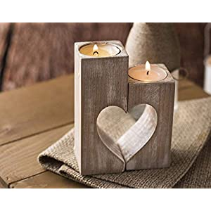 2er-Satz Kerzenständer aus Holz, Herz Teelichthalter Vintage Teelichter, Herzförmiges, 2-teilig für Einzel-Oder Zusammen…