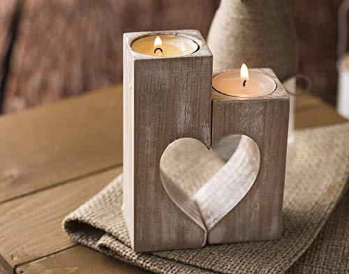 2er-Satz Kerzenständer aus Holz, Herz Teelichthalter Vintage Teelichter, Herzförmiges, 2-teilig für Einzel-Oder Zusammen, Wohnzimmer Kerzen Kerzenleuchter Tischdekoration Homedeko Weihnachts Geschenk