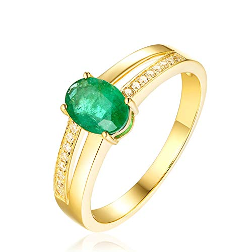 AueDsa Anillos Verde Anillos de Oro Amarillo Mujer 18 Kilates Oval Esmeralda Verde Blanca 0.56ct Anillo Talla 15