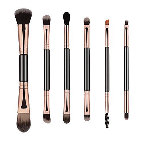 Pinceaux De Maquillage, Maquillage Des Yeux 6Pcs Kit Professionnel Combinaison Outils Brosse Sourcils Crayon Sourcils Beauté,Noir