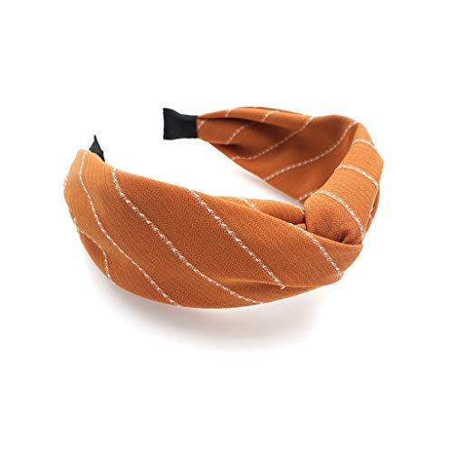 YUTRD ZCJUX Corea del Sur Dongdaemun Temperamento a Rayas de ala Ancha Cruzada Hairband Simple Fashion Tejed In Wash Diadema Horquilla Nuevo