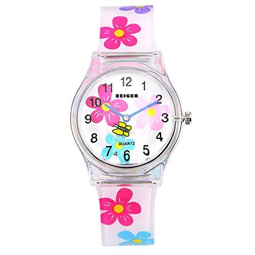 Orologio bambina ragazze Zeiger Orologio impermeabile Time Teacher al quarzo orologi per bambini gemelli ragazze Mini Size per 3-7 anni (Bianco)